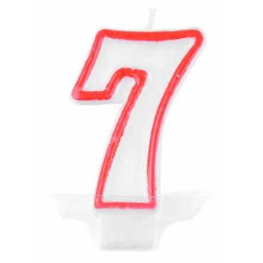 Žvakutė-skaičius 7 raudona