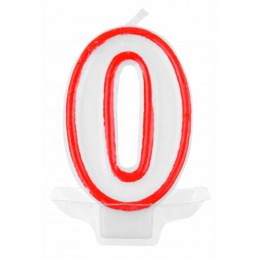 Žvakutė-skaičius 0 raudona