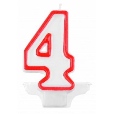 Žvakutė-skaičius 4 raudona