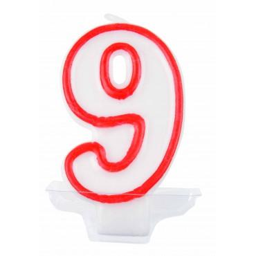 Žvakutė-skaičius 9 raudona