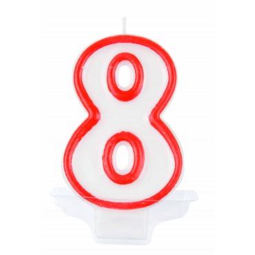 Žvakutė-skaičius 8 raudona